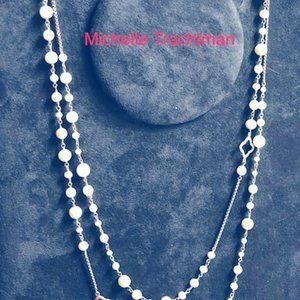 "David Yurman Pearl and silver necklace 48"""